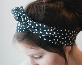 Dolly Bow, Black Polka Dots Wire Headband Rockabilly Pinup 50s