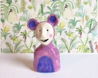 ceramic figurine critter with mouse ears -- purple and blue quirky ornament