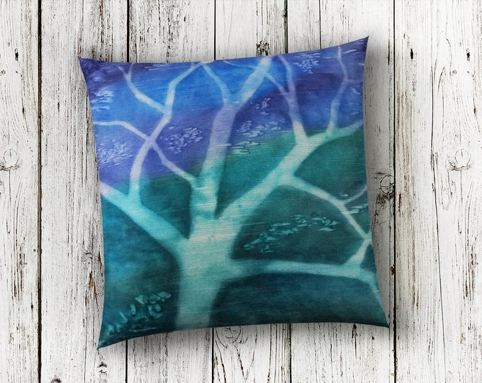 Tree Silhouette-Throw Pillow 18x18-Watercolor Silk Pillow Cover-Teal Decor-Green Pillow-Nature Art-Home Decor Gifts-Watercolor Home Decor