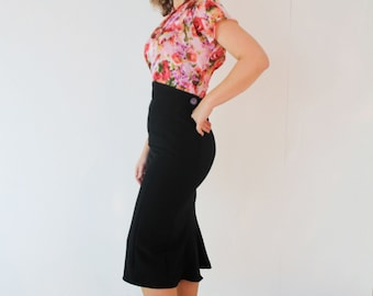1940's high waisted pencil skirt fishtail WWII 40's style