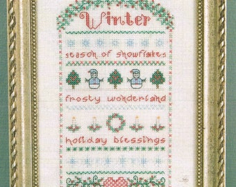 CROSS STITCH PATTERN - Winter Band Sampler Cross Stitch Pattern - Seasonal Cross Stitch - Winter Cross Stitch