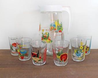 Français pichet et 6 verres set - Vintage pichet et 6 verres - recettes de cuisine - des années 1960