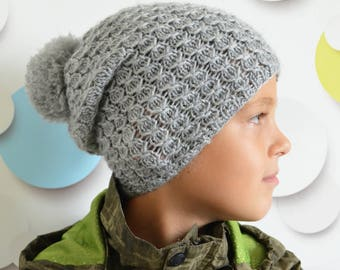 Boy slouchy beanie hat baby gray cable knit hat hipster baby clothes boys pompom hat gray cable knit hat children knitwear spring knit hat