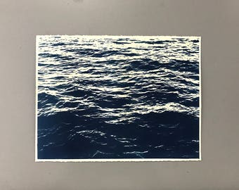 Ocean Cyanotype on Heavy Watercolor Paper