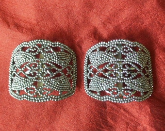 Vintage Cut Steel Marcasite Shoe BUCKLES, Set of 2, Made in France, French Steel Cut Buckles, MB, Art Deco Shoe Buckles, Decorative Buckles