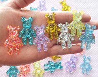 44mm glitter BEAR cabochon purple blue gold silver flatback adorable decoden phone case supply accessories kawaii jewelry phone *5pcs*