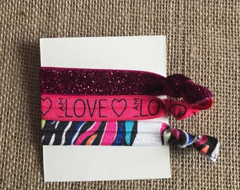 3 Beautiful hair ties pink baby girl love babyangelwithlove summer spring party birthday back to school Valentine's Day