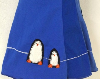 T-Skirt (Kids) | upcycled, recycled blue t-shirt skirt with penguin appliqué