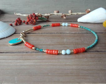 Boho Beaded Anklet, Turquoise, Coral, Amazonite, Anklet, Summer Anklet, Body Jewelry, Bohemian, Yoga Jewelry, Gift for Her, Brightly Colored