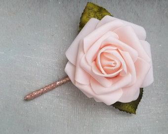 Rose gold and blush boutonieere, rose gold boutonniere, white boutonniere, wedding boutonniere, simple boutonniere, shiny boutonniere