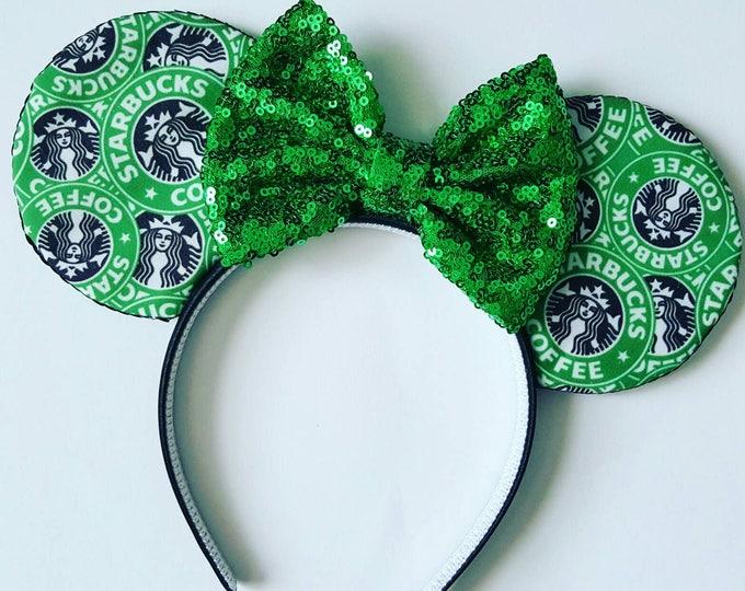 Starbucks Mouse Ears || Mouse Ears || Mouse Ears Headband || Minnie Mouse Ears || Sparkle Mouse Ears || Mickey Ears