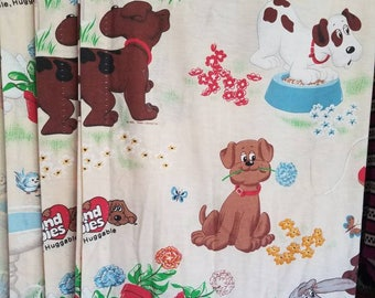 Vintage Pound Puppies Pinch Pleat Curtain Panels set of 3 Long Unlined Child Baby Nursery Playroom Fabric