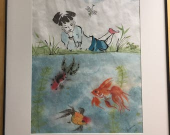 Chinese brush painting - Koi Pond