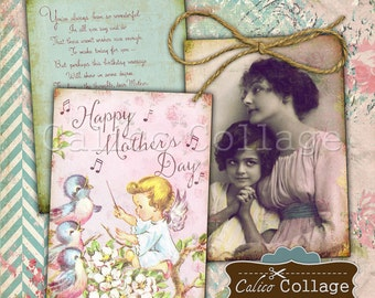 Mothers Day 2.5x3.5 Printable Tags Digital Collage Sheet Images for Journals, Scrapbooks, Decoupage, Paper Crafts, Earrings Cards, Gift Tags