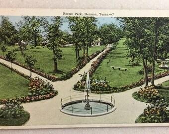 Vintage TX Postcard Denison Texas Forest Park 1926