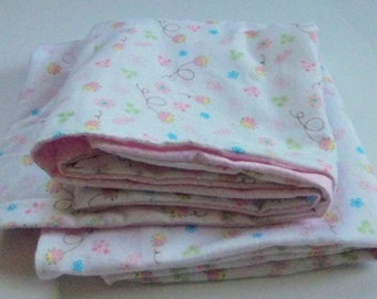 Soft Pink and White  Baby Blanket  Large and  Doublesided