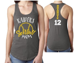 GlitterSoftball Mom Tank Top Racer Back |Customize Your Colors