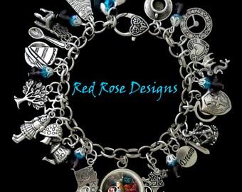Alice In Wonderland Themed Charm Bracelet, Movie Style