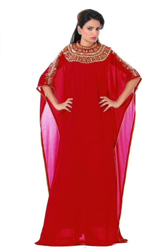 Piece Caftan New 100 Wedding Kaftan Georgette Dress Two Embellished Silk 4q7Iqw1