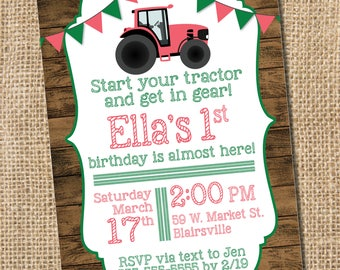 Pink Tractor Birthday Invitation  - PRINTABLE