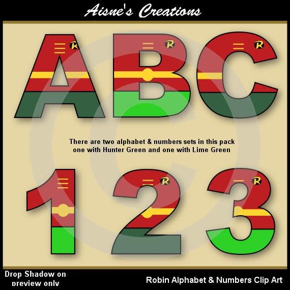 Robin Batman Alphabet Letters Numbers Clip Art Graphics