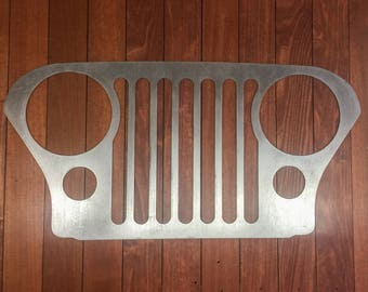 "Jeep CJ7 CJ5 offroad 24"" grill wall/garage art"