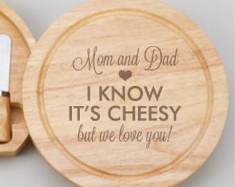 I Know It's Cheesy Personalized Gourmet 5pc. Cheese Board Set - JM4989968-B