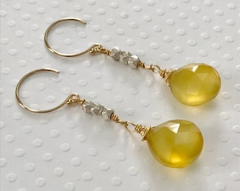 Yellow Chalcedony Gemstone Handmade Wire Wrapped Gold Filled Earrings