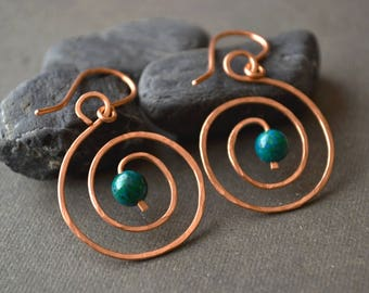earrings her jewelry wire listing green for perfectsilver and aftcra blue octopus handmade summertime wrap beach silver gifts