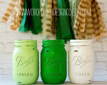 St. Patrick's Day Jars - Mint Green, Kelly Green, White