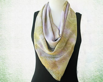 Silk Scarf -  Large Square Silk Scarf - Luxurious Silk Scarves - Olive Gold