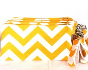 Bridal Party Yellow Chevron Wristlet Set of 7 plus bonus Flower Girl wristlet