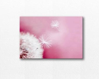 dandelion photography dandelion canvas art 12x12 24x36 fine art photography canvas botanical canvas wall art dandelion pink nursery decor