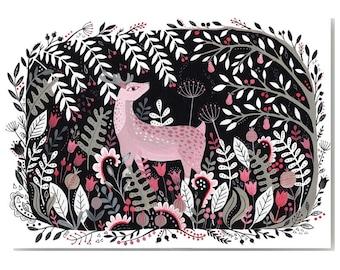 Midnight Deer A4 Giclee Art Print