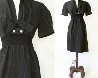 vintage 1950s black dress and jacket <> 1950s black taffeta dress <> 50s bolero jacket