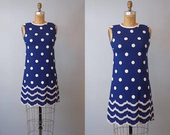 Dotty Wave Dress / 1960s Embroidered Cotton Shift Dress / 60s Shift Scotter Dress / Small