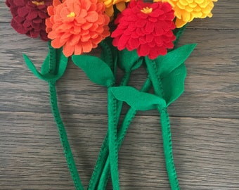 One Handsewn Zinnia Felt Flower - Your choice of color