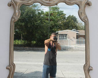 Italian Hollywood Regency Carved Wood Wall Mirror.