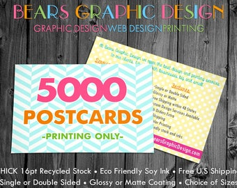 5000 Postcards Printed Full Color with a choice of Glossy or Matte Finish, Eco Friendly Postcard Printing