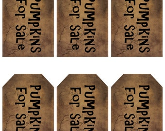 grungy tag set - pumpkins for sale - digital PDF & jpeg - PSGT01