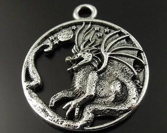 Dragon (x 1) antique metal Locket charm/pendant