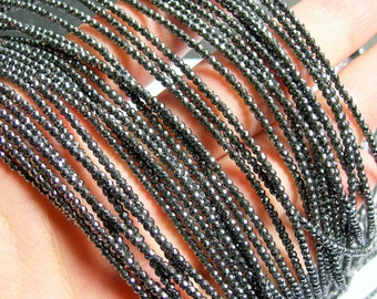Hematite - 2 mm faceted round beads -1 full strand - 200 beads - AA quality - RFG387