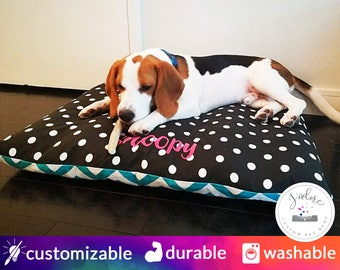 Modern Dog Bed with Name Embroidery   Turquoise, White, Polka Dot, Chevron - Small to X-Large   Design Your Own