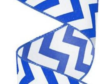 "SALE 2.5"" royal blue chevron ribbon, royal blue and white chevron ribbon, royal blue and white ribbon, royal blue ribbon (10yards)"