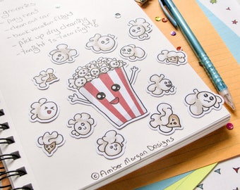 Popcorn Stickers, Funny Food, Journaling, Sticker Flakes, Cute Stationery, Scrapbooking, Paper, Kawaii Stickers
