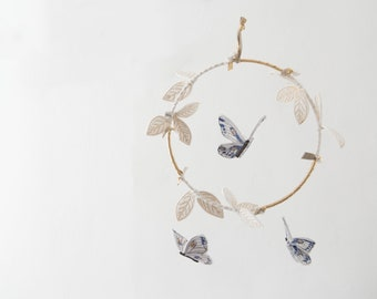 Butterfly Mobile in Indigo, Luxe Metallic Gold and White - Nursery Decor for Baby