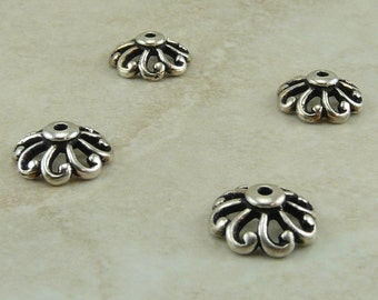 4 TierraCast 12mm Open Scalloped Bead Caps - Ornate Filagree - Silver Plated LEAD FREE pewter - I ship internationally 5590