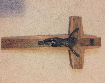Vinage French-Made Wooden & Brass Crucifix