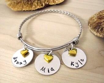 Name Jewelry, Gift for Grandma, Nana Bracelet, Grandma Present, Mom Jewelry, Grandkids Names, Mother's Day, Grandma Jewelry, 1-12 discs