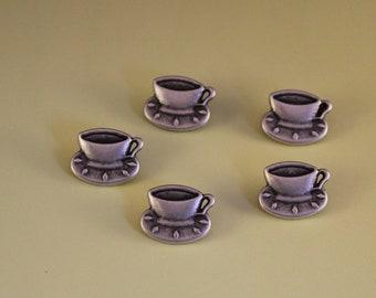 5 x Metal Shank Tea Cup and Saucer Buttons
